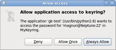 Dialog requesting permission to access the password for magnun@Neptune:22