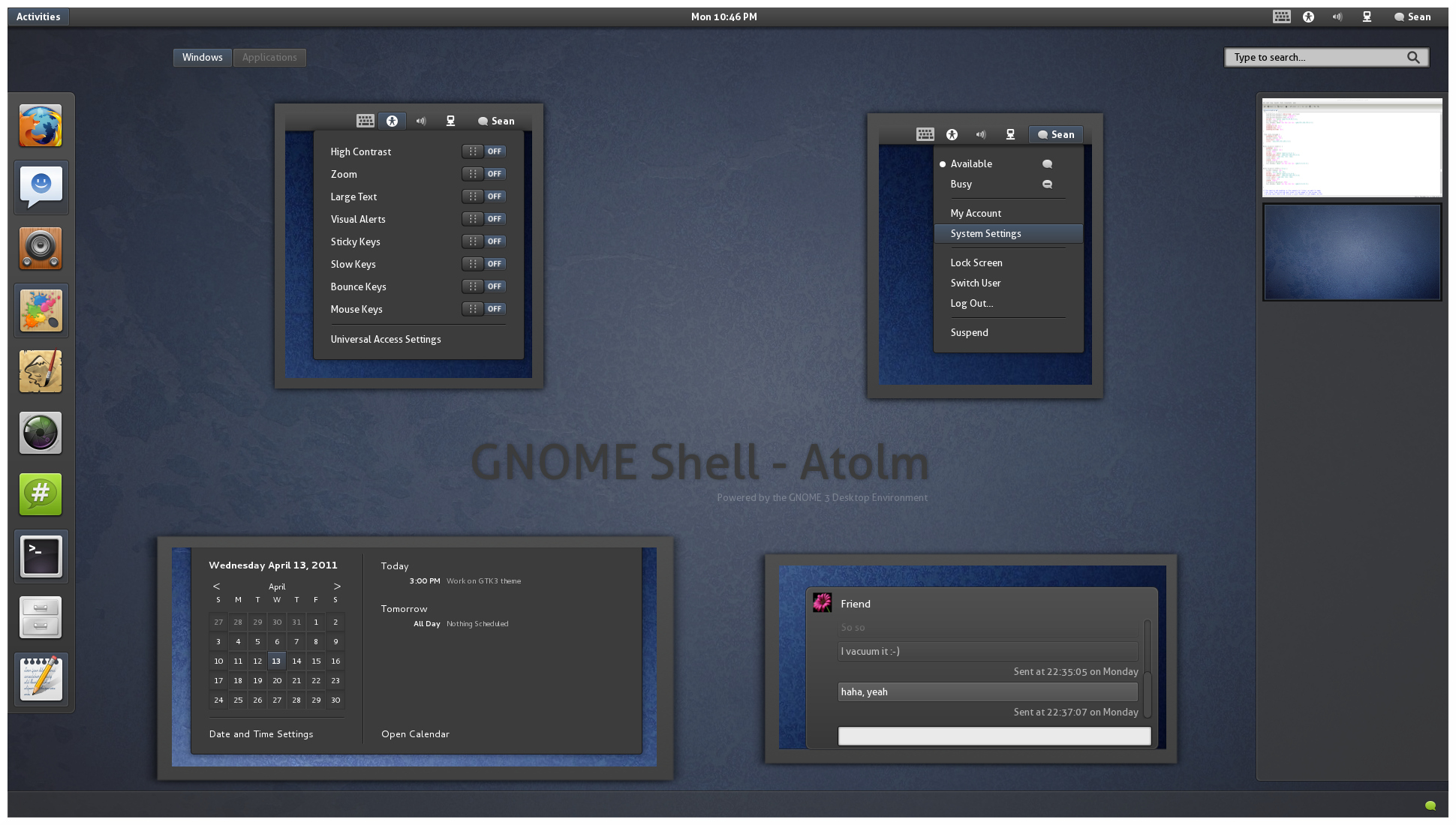 Atolm - Gnome Shell Theme