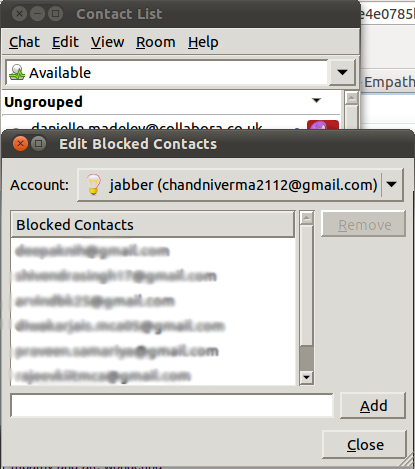 Blocked Contacts Window