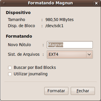 USBManager Formating Dialog