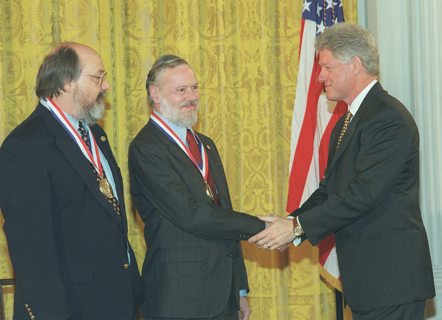 Left to right Kenneth L. Thompson, Dennis M.  Ritchie